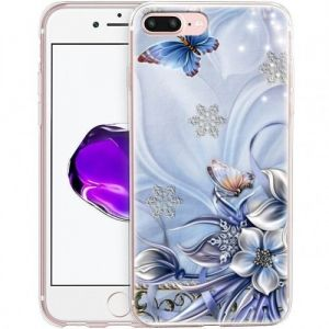 Гръб iPhone 7 (5.5) Blue Flowers and Butterflies